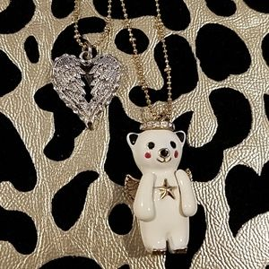 Betsy Johnson Teddy Bear & Heart Double Necklace